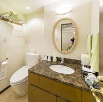 お部屋/ダブルルーム|ウォシュレット付トイレと洗面スペース完備。