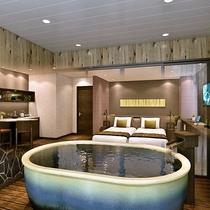 半露天風呂プレミアムルームは源泉掛け流しの美肌の湯を浅間山の眺望と共に半露天で楽しめます(イメージ)