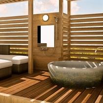 テラス露天風呂プレミアムルームは源泉掛け流しの美肌の湯を自然の景観と共に露天で楽しめます(イメージ)