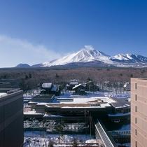 冬 屋上パノラマテラスから望む白く染まり始めた北軽井沢高原