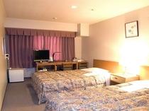 ツインルーム・・セミダブルベット2台設置 ≪お子様の添い寝も広めのベットで楽々♪添い寝は無料です≫