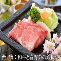 和牛と春野菜鉄板焼