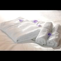 バスタオル、フェイスタオルは上質にこだわりリゾートホテルで採用されている物を使用