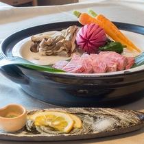 *【お料理】夕食:美熊野牛ミスジ温泉蒸し