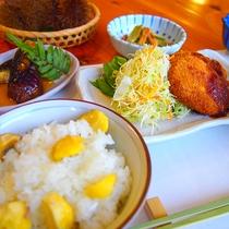 【夕食一例】その季節の地元食材を使用した輪定食をご用意♪