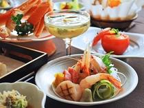 【ご夕食一例:よねしろプラン】旬魚を使用した贅沢なお造り。写真は鯛、鮪、ボタン海老、焼目帆立。