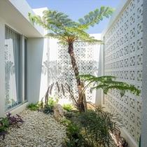 【雲】ガーデンでは南国育ちの植物が気持ちを盛り立てます