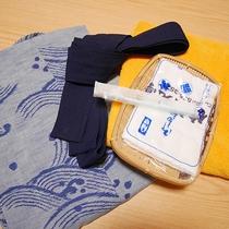 *部屋のアメニティ/浴衣やタオル類、歯ブラシなどご用意しております。