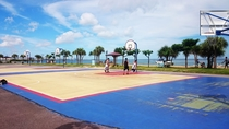 Araha beach park. Basketball court