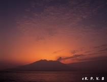 早朝の桜島