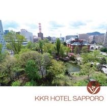 ホテルから望む北海道庁庭園