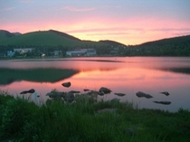 白樺湖の夕日