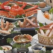 地元産の活蟹2枚相当使用 松葉ガニ会席の献立一例 500×500