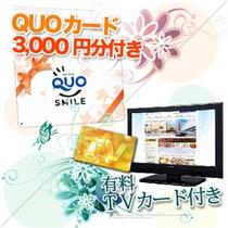 クオカード3,000円分と有料TVカードがセットのプラン