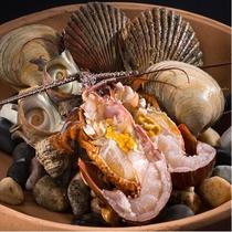 伊勢海老と貝の法楽焼