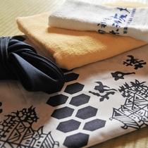 *アメニティ/「坂戸城」の名前入り浴衣を着て、どうぞ温泉気分を満喫して下さい。