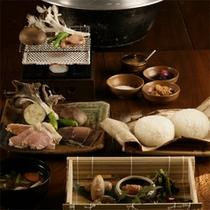 *夕食一例/『お発ち飯』ぬか釜でたっぷり炊いた、歴史のある郷土料理。