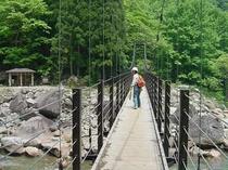 苗名滝の手前に架かるつり橋