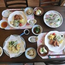 【夕食一例】地元産の新鮮な食材を使った和華蘭グルメ