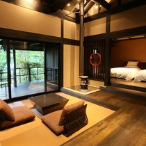 【客室/有明】 お部屋とテラスとお風呂とが一つに繋がる開放的な空間です