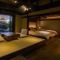 【客室/天心】 月洸樹で唯一のバリアフリー対応のお部屋です。玄関から内湯までフラットになっております