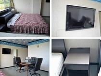 【室内】コンセント付きのサイドテーブルを全室に装備。