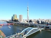 展望テラスからの眺望 スカイツリー&駒形橋(昼2)