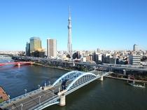 展望テラスからの眺望 スカイツリー&駒形橋(昼1)