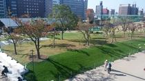 8名ドミトリーのバルコニーからの眺望 ー てんしば(芝生広場)