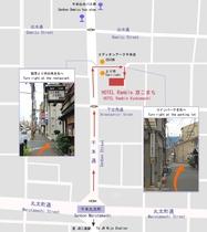 千本通りからホテルまでの詳細アクセスマップ