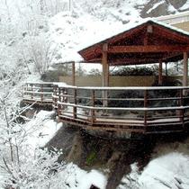 雪の露天風呂(さるあみの湯)