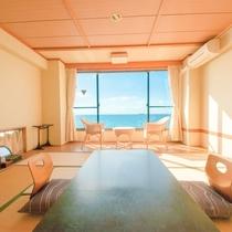 ◆和室12畳。大きな窓からは伊勢湾を一望いただけます。