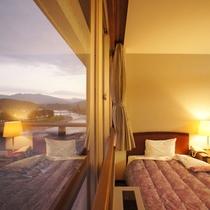 【和洋室一例】お部屋の窓からは球磨川の風景をご覧いただけます
