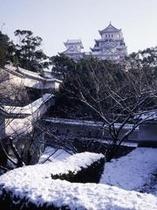 姫路城、冬(縦)