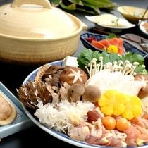 地鶏ときのこ鍋(一例)
