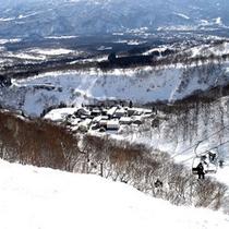 スキー場から望む関温泉。冬は雪に包まれて幻想的な雰囲気が味わえます♪