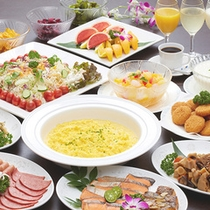 【朝食バイキング(一例)】 地元の食材を生かした朝食バイキング