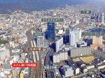 神戸駅上空から