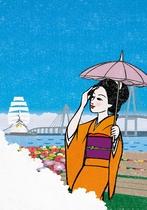 新緑の自然を背景に美しくかがやく夏色の富山。