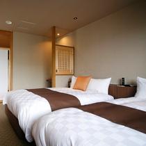 特別フロア【和み】展望檜風呂付特別室Bのベッドルーム