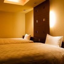 特別フロア【和み】展望檜風呂付特別室Aのベッドルーム