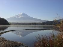 湖畔に映る逆さ富士・・