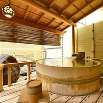 露天付き客室の露天には洗い場はありません。あくまで湯治用です。洗い場は普通浴室をご利用ください。