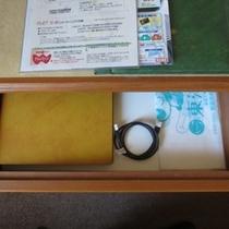 LANケーブルは机の引き出しの中にございます。