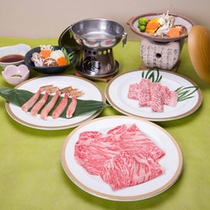 *選べる3種のメイン料理コース/牛しゃぶ、蟹しゃぶ、牛陶板焼きからセレクト♪