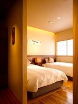 【別邸】半露天風呂&テラス付き和洋室(寝室)