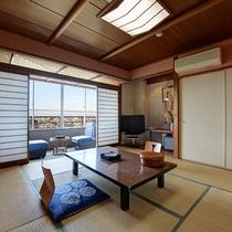 *【部屋(富士山を眺める和室8畳)】和室8畳・晴天時は富士山と沼津の街を一望できます。