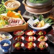 【夕食】≪季節京会席≫9種のおばんざいと鴨鍋や釜飯をご堪能下さいませ。