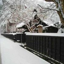 武家屋敷雪と黒塀