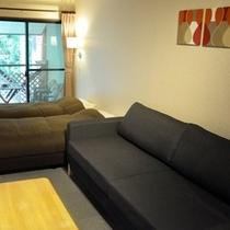 コテージ1ルームタイプのツインとソファーベッド